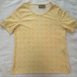 Chico's T-shirt Lace Up Sleeves Yellow Geometric S